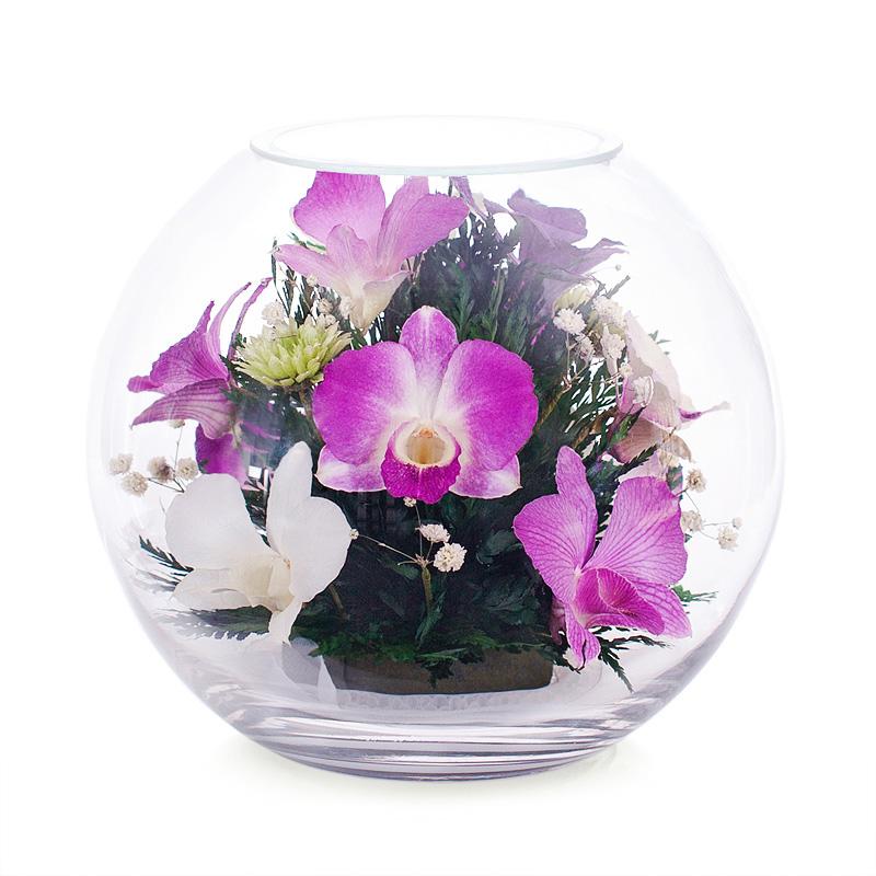 Цветами, букет круглый из орхидеи цена